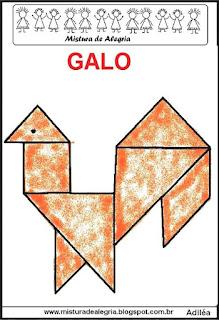 tangram desenho de galo