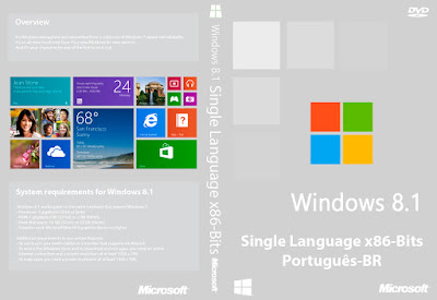 Windows 8.1 Single Language x86-Bits Português-BR DVD Capa