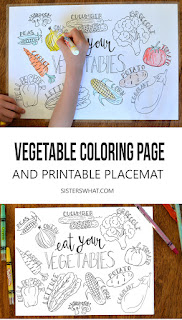 Vegetable coloring page and printable kids placemat that can be laminated so it can be used over and over again!