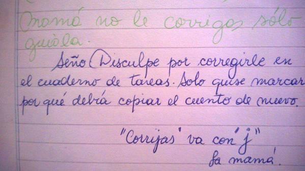 La divertida respuesta viral de una madre a una maestra que escribe con faltas