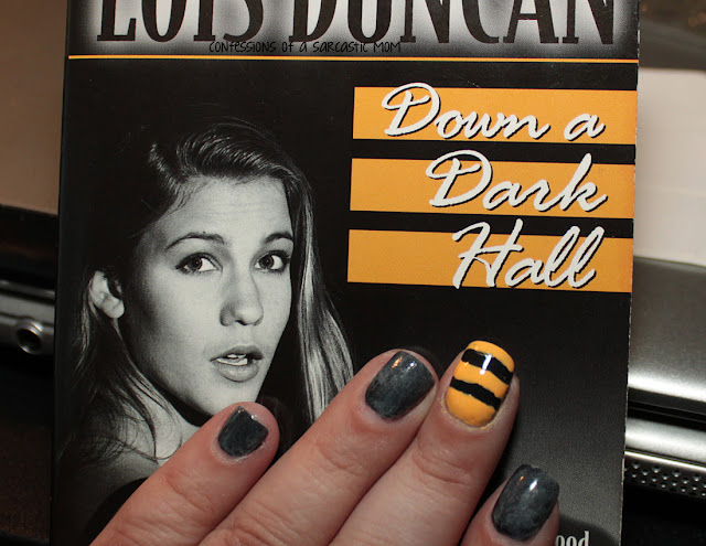 Nail art inspired by a book cover of Down A Dark Hall by Lois Duncan