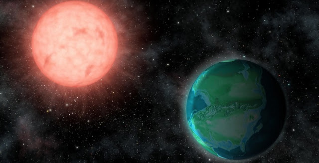 The intense radiation environments around nearby M stars could favor habitable worlds resembling younger versions of Earth. Credit: Jack O'Malley-James/Cornell University