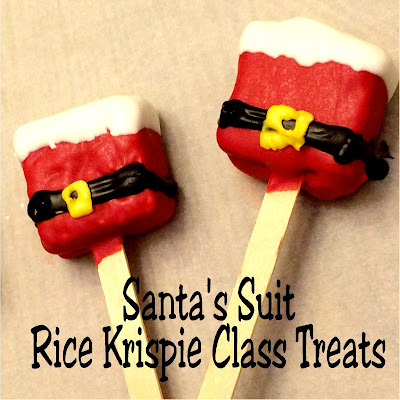 Bring Santa to your Christmas party with these easy class treats made from chocolate and rice Krispie Treats.  You'll be the hero and only you will know how easy they were to make.