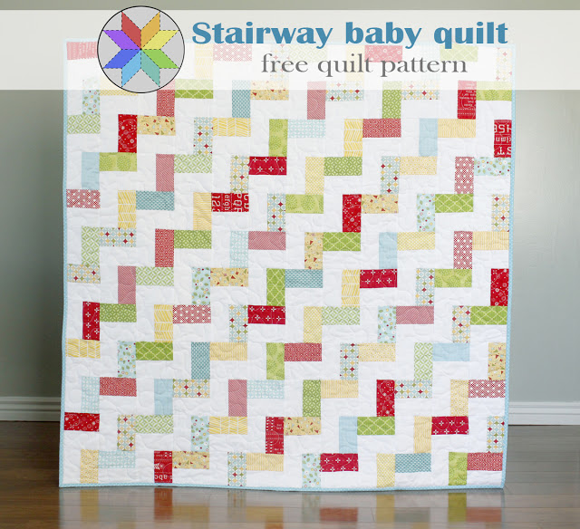 Stairway baby quilt - a free pattern from Andy Knowlton of A Bright Corner