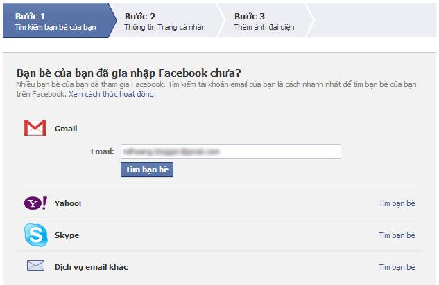 Form Đăng ký facebook
