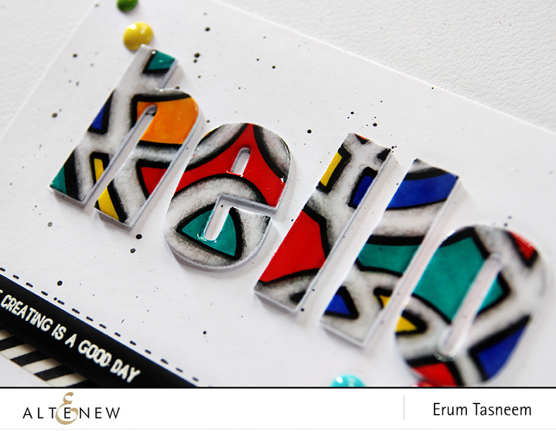 Altenew Graffiti Scribble Stencil and Bold Alphas. Card by Erum Tasneem - @pr0digy0