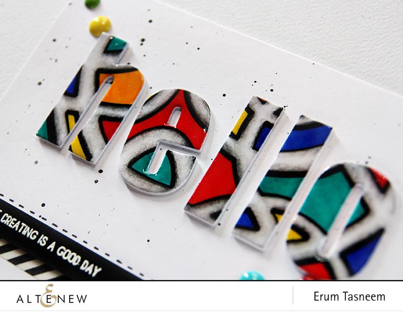 Altenew Graffiti Scribble Stencil and Bold Alphas. Card by Erum Tasneem - @pr0digy0