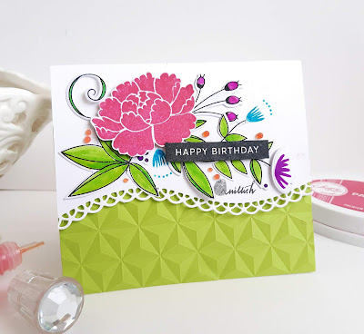 die cutting, floral card, Uniko Ltd, Hampton Art stamps, Birthday card, dry embossing, Embossing folder, We R Memory Keepers, Catherine Pooler inks, cards by ishani , quillish, card for her, feminine card