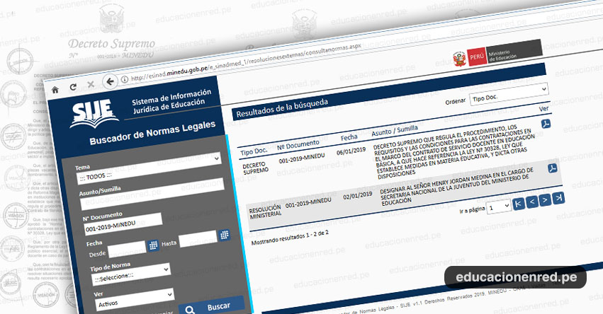 SIJE: Descarga Normas Legales del Sistema de Información Jurídica del Ministerio de Educación - MINEDU - www.minedu.gob.pe