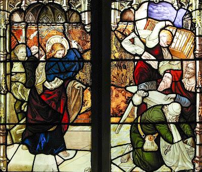 Imagem de Jesus Cristo expulsando os cambistas do templo, vitral, #1