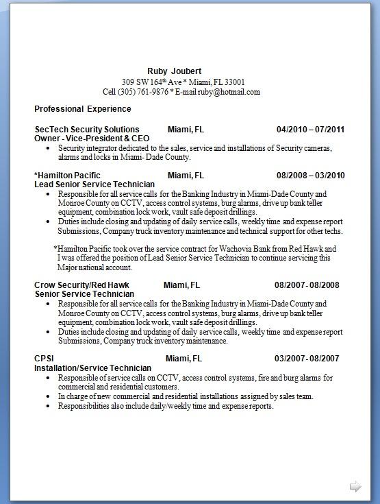 Lead Senior Service Technician Sample Resume Format In Word Free