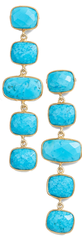 JEMMA SANDS Amalfi Stone Drop Earrings shown in Turquoise