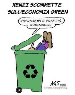 renzi, ecologia, rinnovabili, riciclo, green economy, vignetta, satira
