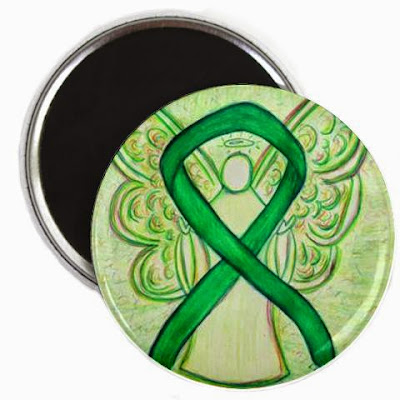 Green Guardian Angel Round Refrigerator Awareness Ribbon Magnets