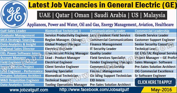 Various Job Vacancies In General Electric Ge Uae