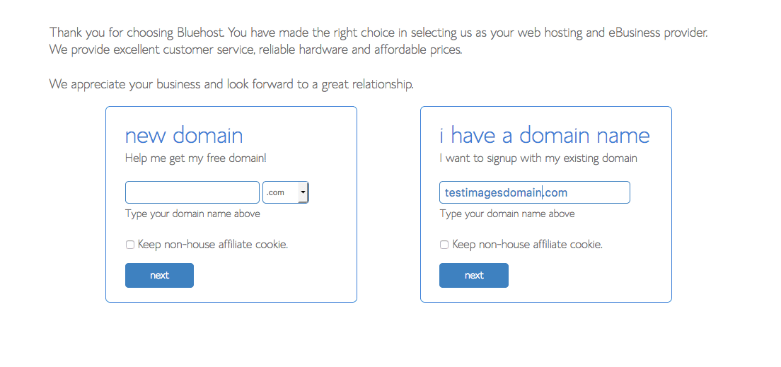 Add your domain with bluehost