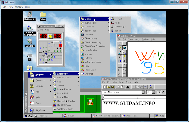 Windows95 desktop con aperto menu Start e alcuni programmi