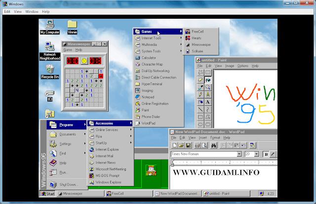 Windows95 desktop con aperto menu Start e alcuni programmi