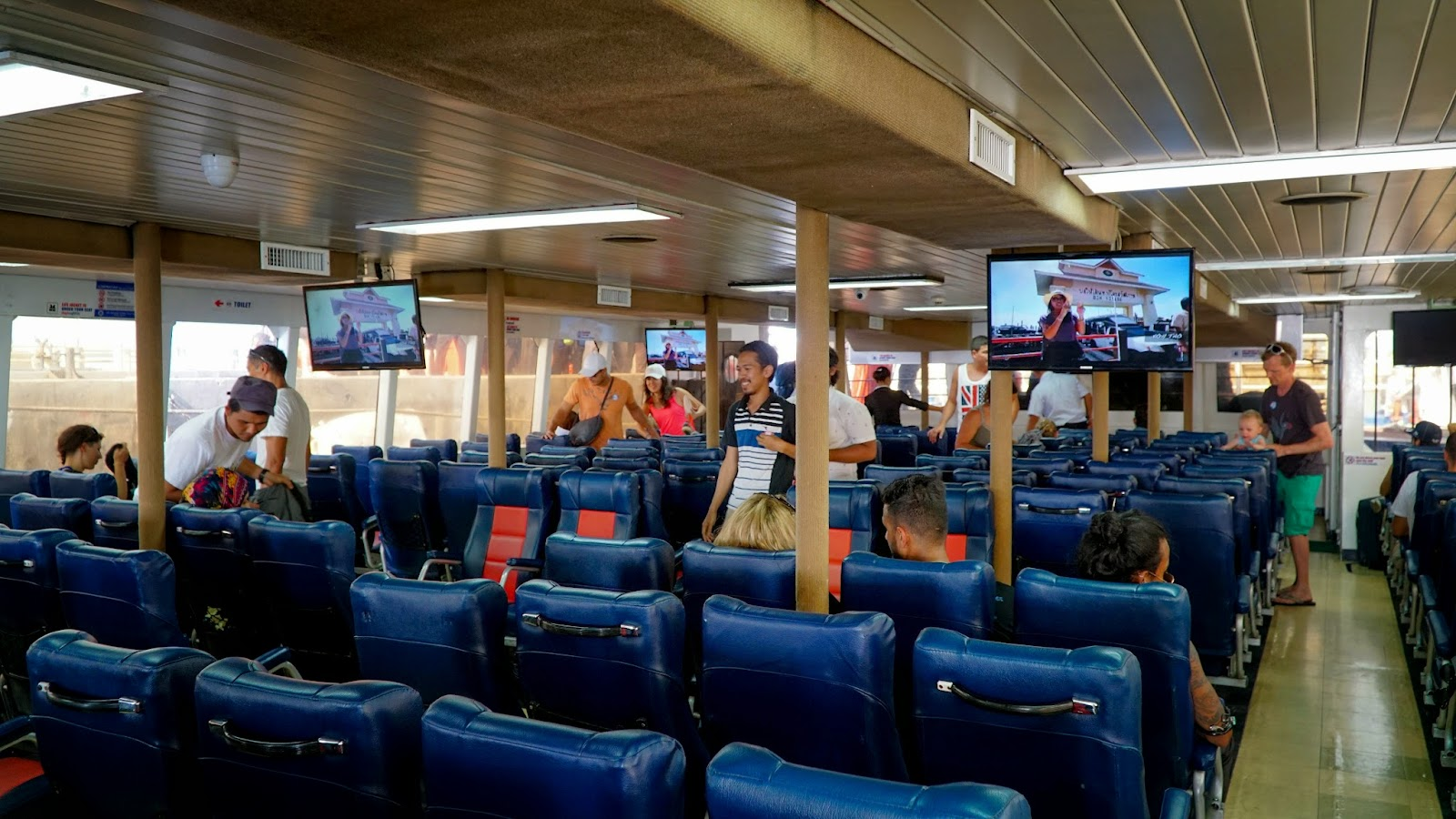 Getting seated inside the ferry