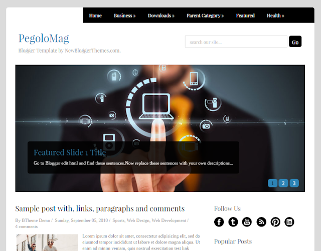 columns gratis blogger subject amongst a left sidebar too  Free Download PegoloMag