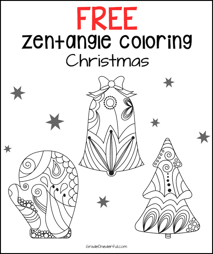 Zentangle Christmas Coloring Pages: Three FREE beautiful zentangle Christmas colouring sheets. Perfect for primary-age kids! #gradeonederful #coloring #christmascoloring #zentangle #christmaszentangle