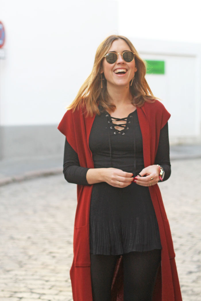 Total black and burgundy