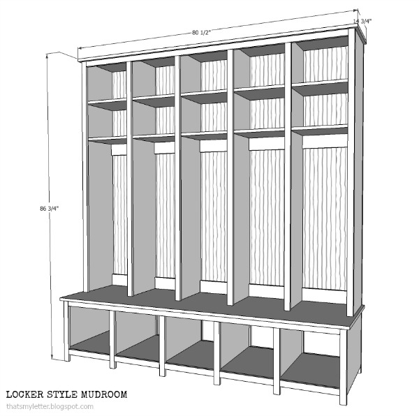 diy locker style mudroom free plans