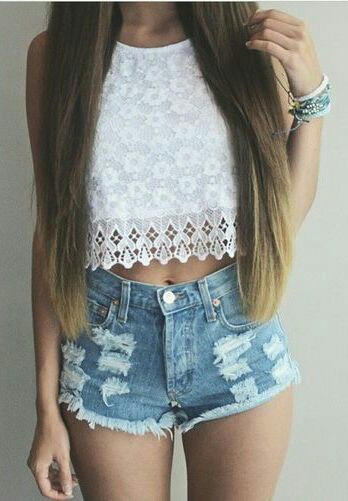Laces top with mini skirt