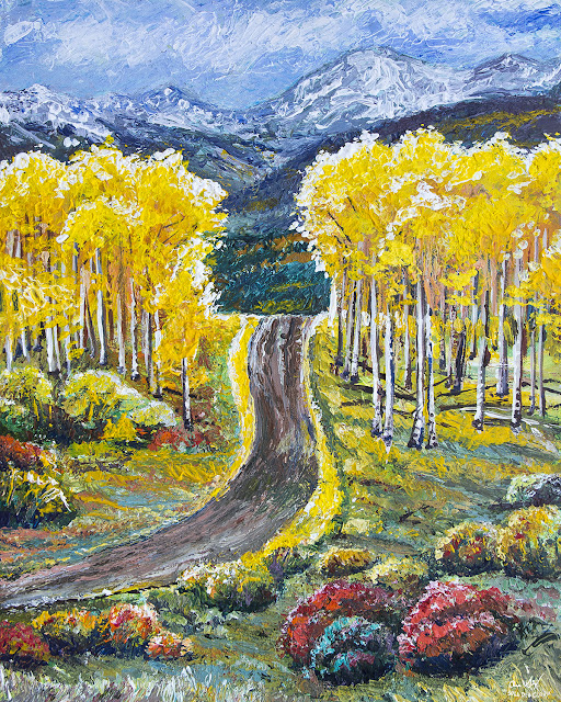 Acrylic painting of aspens and and old dirt road in the San Juan Mountains by artist Aaron Spong