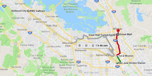 Bonus tip while planning your commute to The Great Mall, Milpitas? - Free Bus ride and a walk around San Jose Downtown    Let me share a bonus tip here. While planning a visit to The Great Mall in Milpitas, you would be crossing San Jose Downtown. If you are reaching San Jose Caltrain station from other parts of the San Francisco Bay Area, you can also take the free bus which will drop you in San Jose Downtown and after taking a walk around the downtown, you can take VTA to the Great Mall. The VTA crosses through San Jose Downtown and there is a VTA station as well.