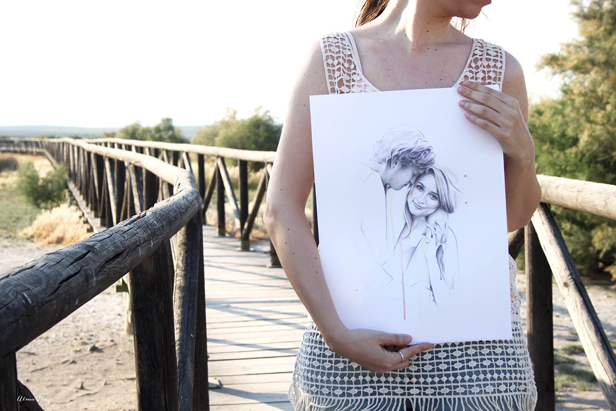 Retrato de pareja dibujado a lápiz y acuarela