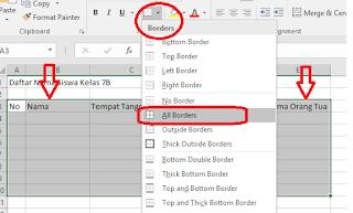cara membuat garis pada tabel di ms excel