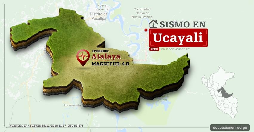 Temblor en Ucayali de magnitud 4.0 (Hoy Jueves 29 Noviembre 2018) Sismo EPICENTRO Atalaya - IGP - www.igp.gob.pe