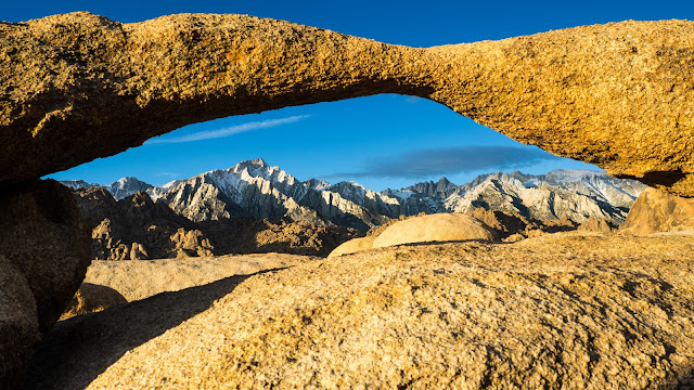 Lathe Arch framing Lone Pine Peak and Mount Whitney