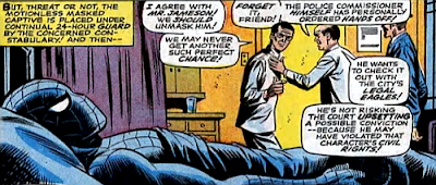 Amazing Spider-Man #65, john romita, jim mooney, after his battle with the vulture, spider-man lies in the prison hospital bed as the staff debate whether they should unmask him