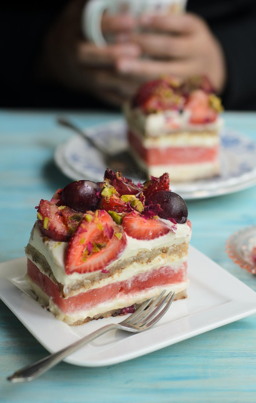 Watermelon and Strawberry Cake image