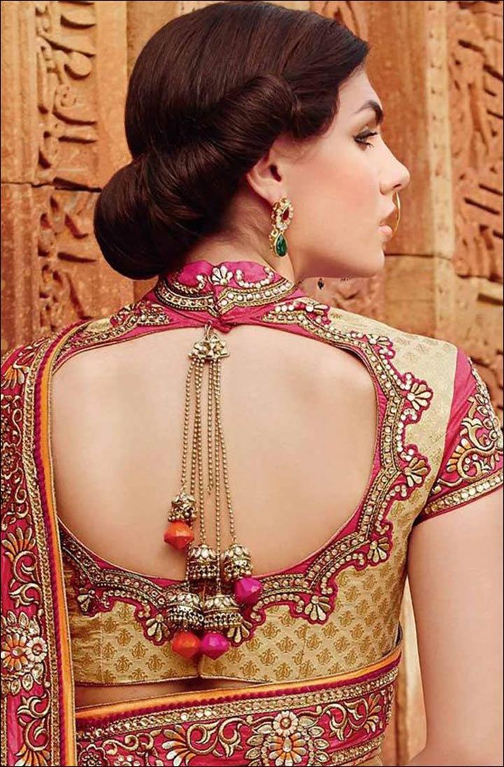 Indian pattu blouse designs for silk sarees 2017