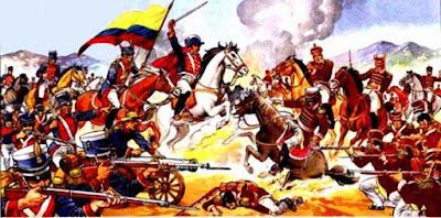 Dibujo de la Batalla de Tarqui a colores