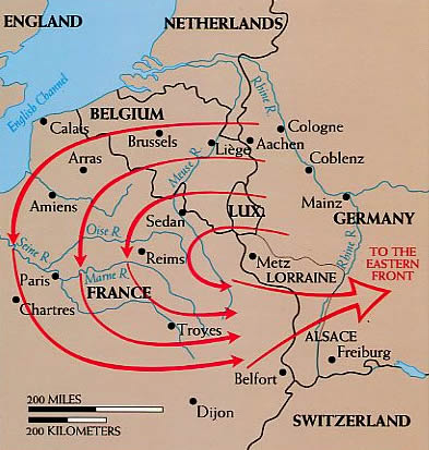 German strategy, devised by Count Alfred von Schlieffen