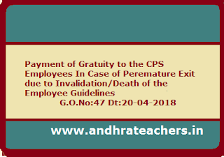 Payment of Gratuity to CPS Employee/ Family members in case of premature exit due invalidation/death Guidelines G.O.No:47