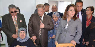"Ghada Wali, Minister of Solidarity, is presenting the film ""First Year of Recovery"" at Ismailia Military Hospital"