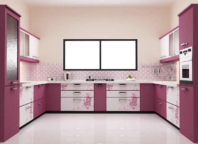 Pink Modular Kitchen Cabinet Decoration