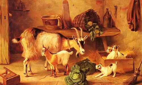 Keçi ve gıdıklar yağlı boya tablosu