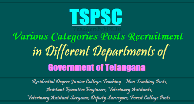 TSPSC Residential Degree Junior Colleges Teaching, Non Teaching Posts, Assistant Executive Engineers, Veterinary Assistants, Veterinary Assistant Surgeons, Deputy Surveyors, Forest College Posts