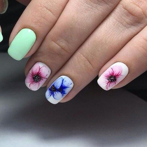 fαshiση gαlαxy 98 ☯ pink and green flower nail arts