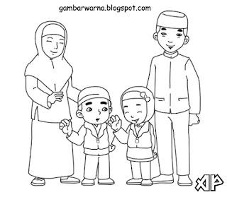 Mewarnai Keluarga Muslim | Belajar Mewarnai Gambar