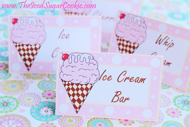 Ice Cream Birthday Party Food Tent Cards- Ice Cream Social, Ice Cream Bar, Whip Cream- Free Printable Cutouts