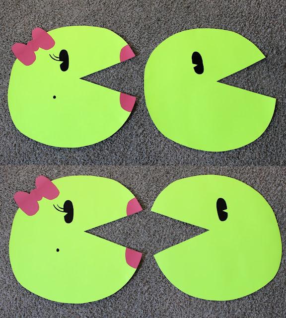 DIY No sew costume, DIY No Sew Pac-man Family Costume, No Sew Pac-man Family Costume, Pac-man, pacman, Ms. Pac-man, Ms. Pacman, no sew pac-man, poster board costume, poster board craft, poster board pac-man
