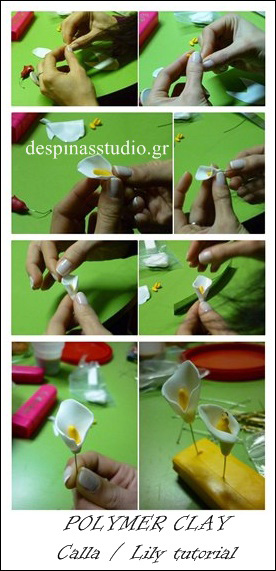 Polymer clay tutorial : Flower Calla /Lily for mother's day