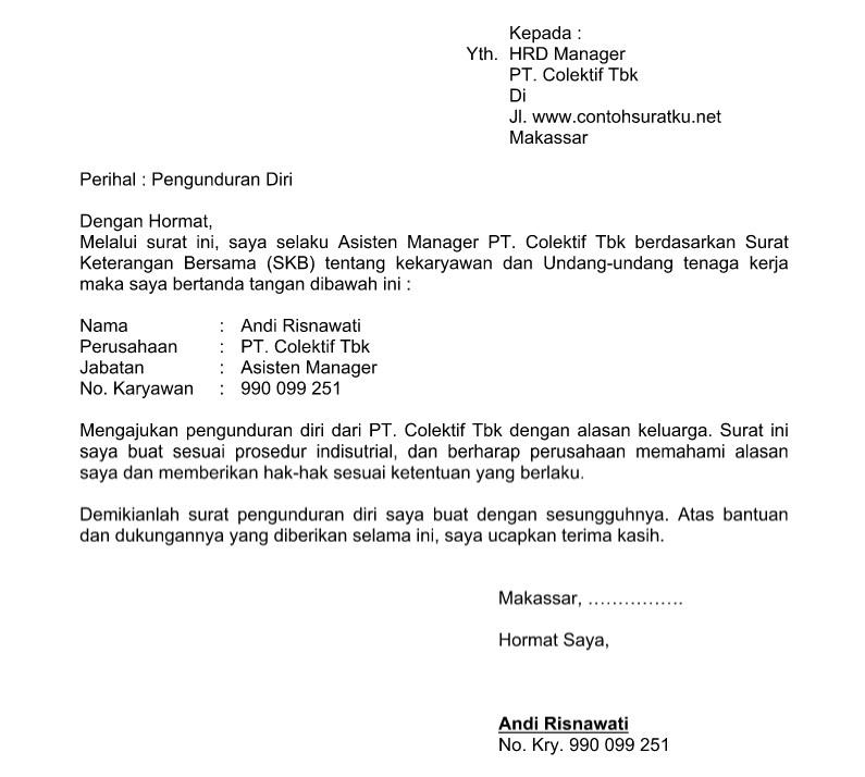 Contoh Surat Pengunduran Diri Jabatan Struktural Sengatan Seo